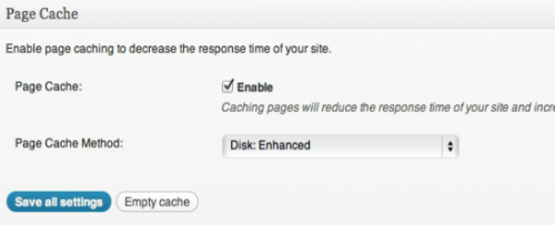 Page cache Settings W3 Total Cache nen 500x203
