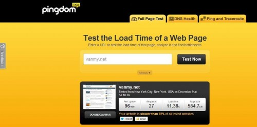 Pingdom Tools do toc do load website