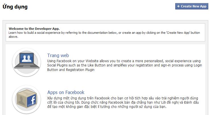 Tạo trang ứng dụng cho facebook